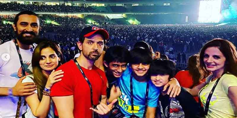 Hrithik Roshan and his kids attending U2's Mumbai concert with Sussanne Khan